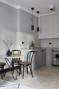 Home Interior Simple Four Kitchen Designs That Caught My Eye this Week.Home Interior Simple Four Kitchen Designs That Caught My Eye this Week Nordic Kitchen, Minimal Kitchen, Scandinavian Kitchen, Home Decor Kitchen, Kitchen Grey, Scandinavian Interiors, Kitchen Ideas, Kitchen Lamps, Kitchen Cabinets