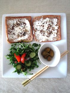 Part of my vegetarian lunch yesterday at home. Labneh cheese spread, wholemeal toasts & raw organic seeds (sunflower, flax, black sesame) + olives + raw organic pea shoots salad (with spring onions, balsamic vinegar, extra virgin olive oil, red Himalayan rock salt, cherry tomatoes, Japanese cucumber, paprika)  #vegetarian #eatclean #getitdone #organic #foodisfuel