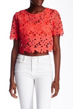 e94e60d9b9bb61 An overlay of geometric crochet adds gorgeous texture to a colorful crop  top. White Crochet