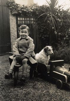 Vintage Photograph of a Boy with a Cheeky Smile on his Tricycle, with his Dog & Toy Train ~ Slice of Life ....