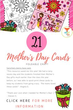Looking for a quick, cute Mother's Day activity? This collection contains 13 Pre-Colored and 8 Black and white Foldable Mother's Day Cards in PDF format. Teaching Materials, Teaching Resources, Teaching Ideas, Toned Girls, Mother's Day Activities, Fathers Day Crafts, Fox Design, Kids Writing, Mothers Day Cards