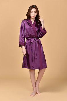 2016 Silk Kimono Robe Bathrobe Women Satin Robe Robe Longue Femme For Women Night Sexy Robes Night Grow For Bridesmaid Summer