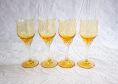 Amber Crystal Aperitif Glasses Set, Vintage Liqueur Glasses, Sherry Glasses, Grappa Glasses, Cordial Glasses