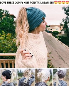 winter is here. of on those cute ponytail winter hats. Hurry up link in bio 👆👆 Snow Fashion, Winter Fashion, Knitted Hats, Crochet Hats, Cute Ponytails, Ponytail Beanie, Winter Is Here, Knit Beanie, Winter Season