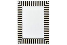Vail Bone-Inlay Wall Mirror, Black/Ivory