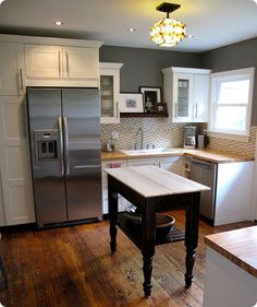 Small kitchen island , cabinet trim
