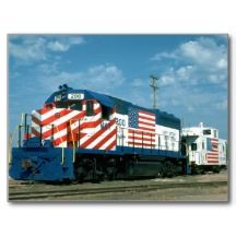 Diesel Locomotive Decorated With The American Flag Postcards