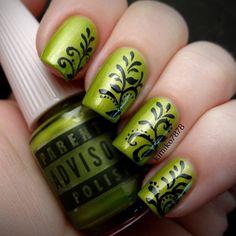 Green nails. Nail art. Nail design. Polishes. Polish.  Instagram by kimiko7878