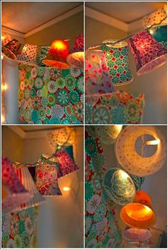 Party cups ~ If you're after a different way of stringing up and displaying your fairy lights, this is a DIY idea that is worth a look. Simply punch holes in the bottom of the paper cups for you to poke the light through. Cover the cups in pretty paper to suit the theme of your party.