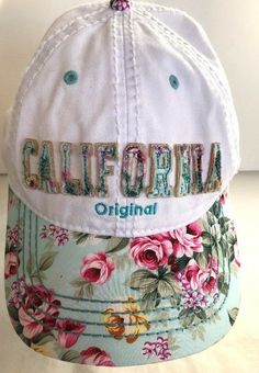 Robin Ruth California Original Floral Strap Back Hat Womens Blue Stitching   robinruth  BaseballCap   75caf50d1688