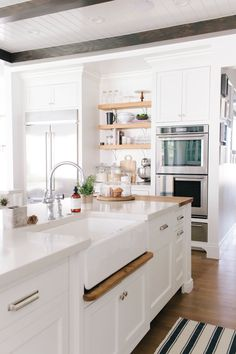 Spring Kitchen Refresh — STUDIO MCGEE Love this. Check out 3 counters or almost islands Best Kitchen Cabinets, Kitchen Cabinet Styles, Kitchen Appliances, Rustic Kitchen, Kitchen Dining, Kitchen Decor, Copper Kitchen, Kitchen Utensils, Kitchen Gadgets