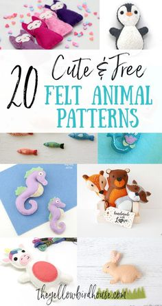 20 really cute free felt animal patterns. Free patterns for nautical animals, woodland animals, magical creatures and more! Felt Crafts Patterns, Felt Crafts Diy, Animal Sewing Patterns, Stuffed Animal Patterns, Felt Diy, Crafts To Make, Felt Patterns Free, Felt Doll Patterns, Felt Ornaments Patterns