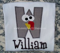Turkey Alpha  Applique Shirt or Onesie Personalized for Boy or Girl. $22.00, via Etsy.