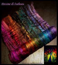 CUSTOM ORDER:Pavone di Isabeau ~ Hand-carded Art Batt Set (Ply Partners) for Spinning - Merino/Bamboo/Silk on Etsy, $40.00
