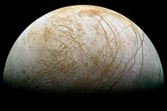 This gibbous phase shows part of Jupiter's moon Europa. The robot spacecraft Galileo captured this image mosaic during its mission orbiting Jupiter from 1995 - - Image Credit: Galileo Project, JPL, NASA; reprocessed by Ted Stryk Jupiter's Moon Europa, Jupiter Moons, Sistema Solar, Cosmos, Tectonique Des Plaques, Outer Space, Interstellar, Stars, Jupiter Planet