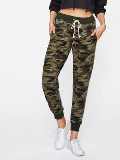 b7e91856714 Drawstring Waist Camouflage SweatpantsFor Women-romwe Blazer Jackets For  Women