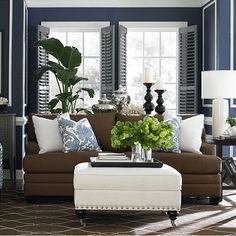 Navy brown white grey living room