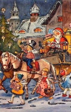 Santa bringing joy to children all over the world. Noel Christmas, Father Christmas, Country Christmas, Christmas Greetings, German Advent Calendar, Vintage Christmas Images, Holiday Images, Halloween Pin Up, Santa And His Reindeer