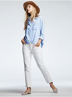 chambray shirt, white jeans, nude flats