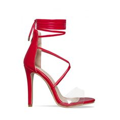 Terri Red Clear Lace Up Heels : Simmi Shoes ($9.16) ❤ liked on Polyvore featuring shoes, pumps, laced shoes, red lace up shoes, red pumps, lace up pumps and laced up shoes