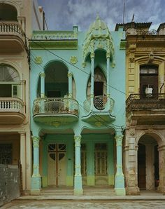 This house is a lovely example of Art Nouveau in Havana, Cuba. It was built in 1914 and was recently restored.