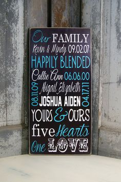 Personalized Blended Family Name Sign on Wood or by MadiKayDesigns