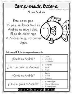 English Activities, Preschool Learning Activities, Classroom Activities, Spanish Teacher, Teaching Spanish, Teaching English, Preschool Journals, Spanish Lessons, Reading Comprehension