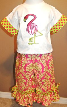 CUSTOM Girl's MONOGRAMMED FLAMINGO Shirt and by ChildrensCottage, $51.00
