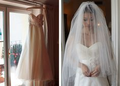 This beautiful blusher veil is perfectly traditional.