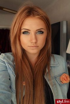 Love this hair color!!! And the blue eye shadow to make her eyes pop:)