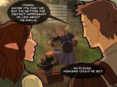 Alistair/Warden discussing Zevran's skills