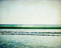 "Beach photography   jade green teal   ocean wave print   California beach   large wall art   dark teal   fine art photography ""Jade Beach"""