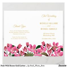 Pink Wild Roses Gold Letter Folded Wedding Program Elegant Wedding Programs, Elegant Wedding Invitations, Letter Folding, Gold Letters, Rose Design, Special Day, Perfect Wedding, Invites, Roses