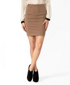 simply beautiful sand colored knee length pencil skirt / bodycon skirt
