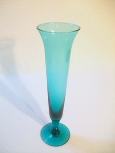 Vintage MID Century Blenko SEA Green Champagne Wine Stem Blow Glass | eBay