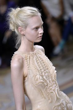 3D printed dress with dimensional surface texture - artistic fashion details // Iris van Herpen