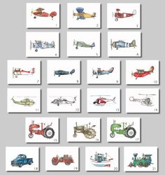 You are purchasing a set of three 8x10 watercolor prints featuring vintage airplanes, helicopters, tractors, and more. These are perfect for any