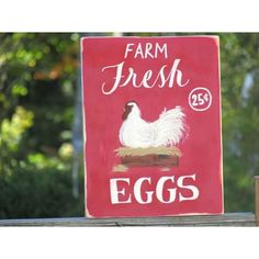 Hey all ☺ I know it's been awhile since I've posted anything new... I've been on vacation getting a taste of farm life in Minnesota. Starla made this farm fresh eggs wood sign for the shop!  #dandelionwoods #etsyshop  #etsy #farmfresheggs #farmlife #country #farmhouse #decor #chicken #redsign #countrykitchen #woodsign #sign Farm Signs, Wood Signs, Country Kitchen, Country Farmhouse, Farmhouse Decor, Red Sign, Farm Life, Minnesota, Dandelion