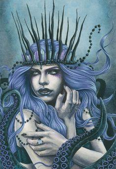 Sea Witch - Gothic Fantasy Art Cecaelia Ursula Sea Creature by Rebecca Sinz aka ElvenstarArt Gothic Fantasy Art, Fantasy Concept Art, Medieval Fantasy, Dark Fantasy, Final Fantasy, Sea Creatures Drawing, Witch Drawing, Fantasy Tattoos, Witch Tattoo