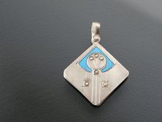 Art Nouveau Pendant Silver 750. Vienna Secession. Enamel, Pearls Slide Charm Jugendstil
