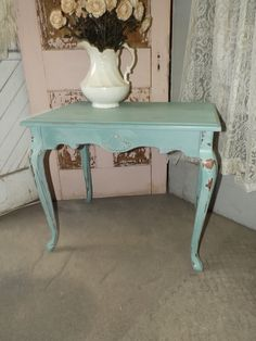French Country Farmhouse, Beach Cottage, Shabby, Distressed, Aqua/Turquoise, Hand Painted Side Table
