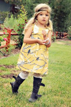 Fall Vintage Yellow Sparrow Dress. $42.00, via Etsy.