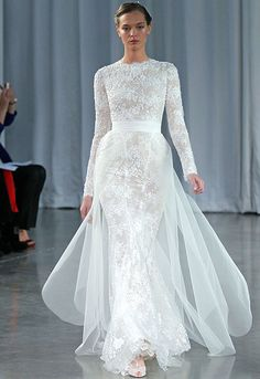 Monique Lhuillier debuted her latest wedding dress collection during bridal fashion week. Long Sleeve Lace Gown, Lace Wedding Dress With Sleeves, Long Sleeve Wedding, Lace Gowns, Dress Lace, Beautiful Wedding Gowns, Modest Wedding Dresses, Beautiful Dresses, Timeless Wedding