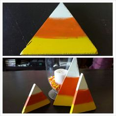 DIY candy corn displays. Cut out triangles from scrap wood. Paint, lightly distress and protect with a clear coat!