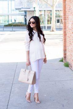 I want pretty: Look-Outfits con estilo para embarazada!-No le tengas miedo a los colores claros y mucho menos a los outfits monocromáticos.