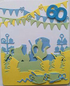 Xcut Tea Party die - 60th Card