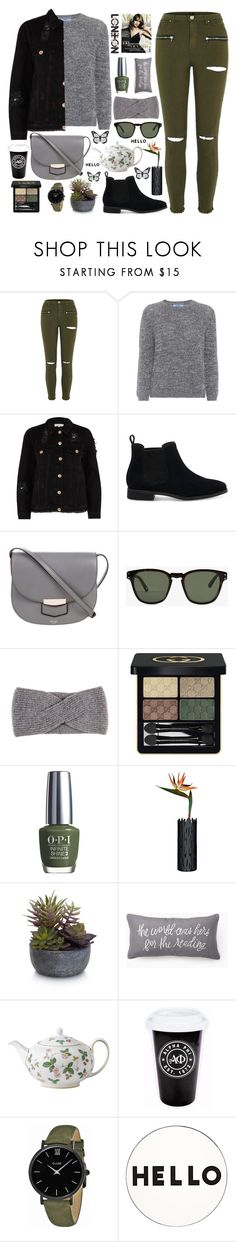 """style"" by lena-volodivchyk ❤ liked on Polyvore featuring River Island, Prada, TOMS, CÉLINE, Ahlem, Black, Gucci, OPI, Alessi and Elements"