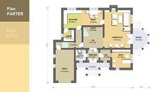 Locuinta unifamiliala organizata functional pe parter si etaj- Plan parter| Single-family dwelling- Ground floor plan| Etichete: proiect casa, proiecte case, proiecte case cu etaj, proiecte case moderne Large House Plans, Large Homes, Floor Plans, How To Plan, Dining, Model, Top, Mud Rooms, Food