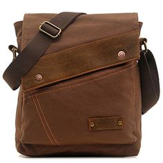 EcoCity Vintage Small Canvas Messenger Bag Shoulder Bag iPad Bags For Men & Women (Coffee)