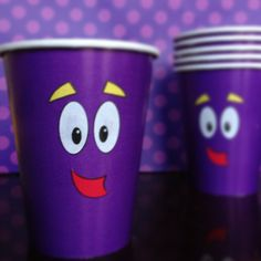 Dress up those cups! Dora party ideas. Made by me arlenedanielle_ on instagram with a template. All cut by hand.